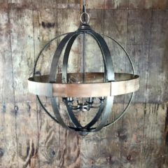 "6 Light Metal Wood Sphere  26"" Round   $125"