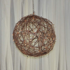 "Lit Grapevine Ball 18"" $25,  24"" $35,  36"" $75"